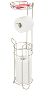 Metal Toilet Tissue Reserve Plus with Top Shelf in Satin