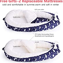 soft baby nest bed with 2 mattress