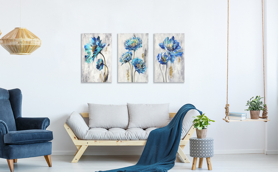 blue canvas floral painting