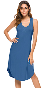 WiWi Womens Bamboo Sleeveless Nightgown Full Slips Plus Size Sleepwear