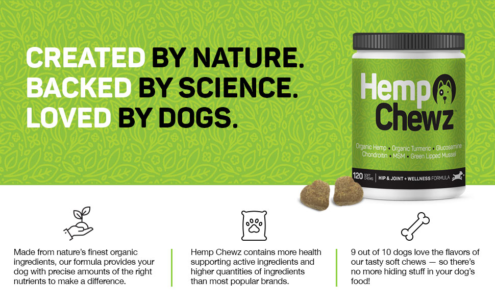 hemp oil soft chews dogs hip joint supplement arthritis hip dysplasia glucosamine natural treats