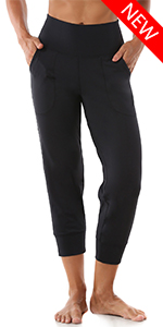 Joggers for Women, High Waist Yoga Capri Pants with Pockets for Running Workout Black Medium