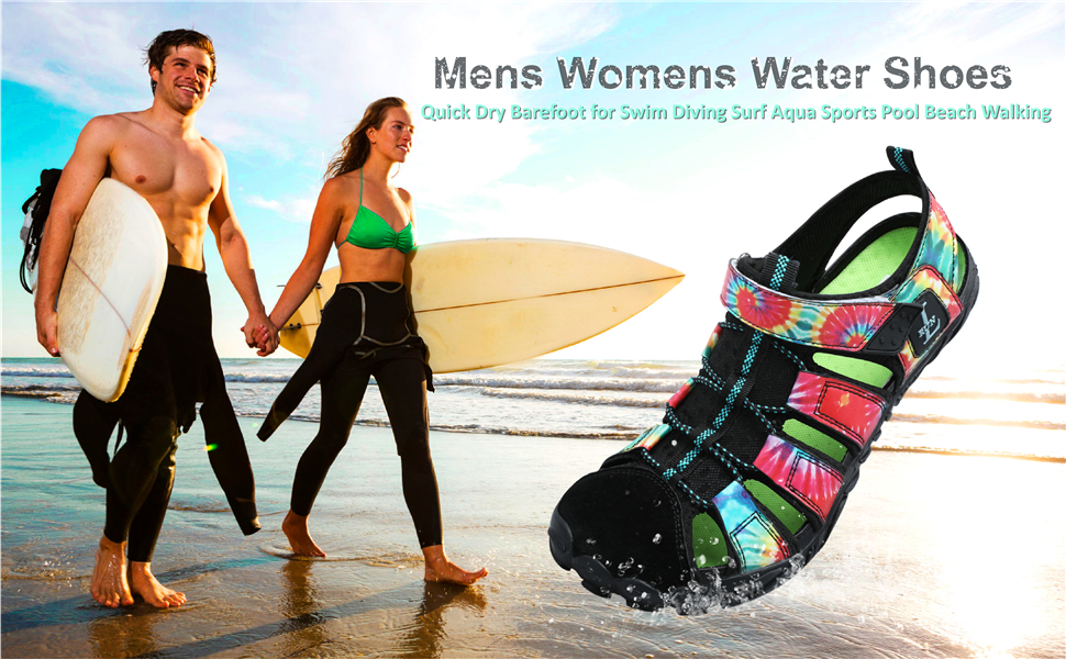 Mens Womens Slip on Sports Beach Sandals Quick Dry Athletic Hiking Aqua Water Shoes