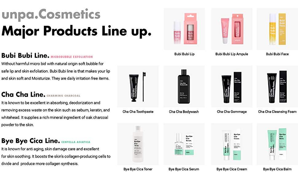 unpa cosmetics major products line up