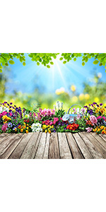 Spring Scene Photography Backdrop 6x6ft Vinyl Flowers for Children Easter Shoot