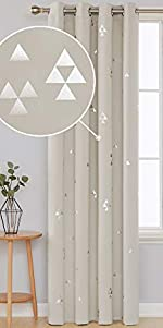 Deconovo Blackout Grommet Curtainswith Triangle Printed