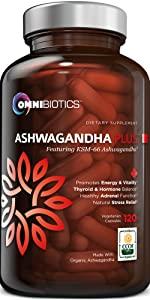Certified Organic Ashwagandha 120 Capsules Supplement OmniBiotics