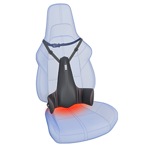 Incorrectly installed posture corrector on a car seat.