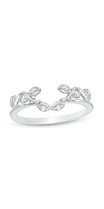 Diamond Vine Vintage-Style Solitaire Enhancer Ring