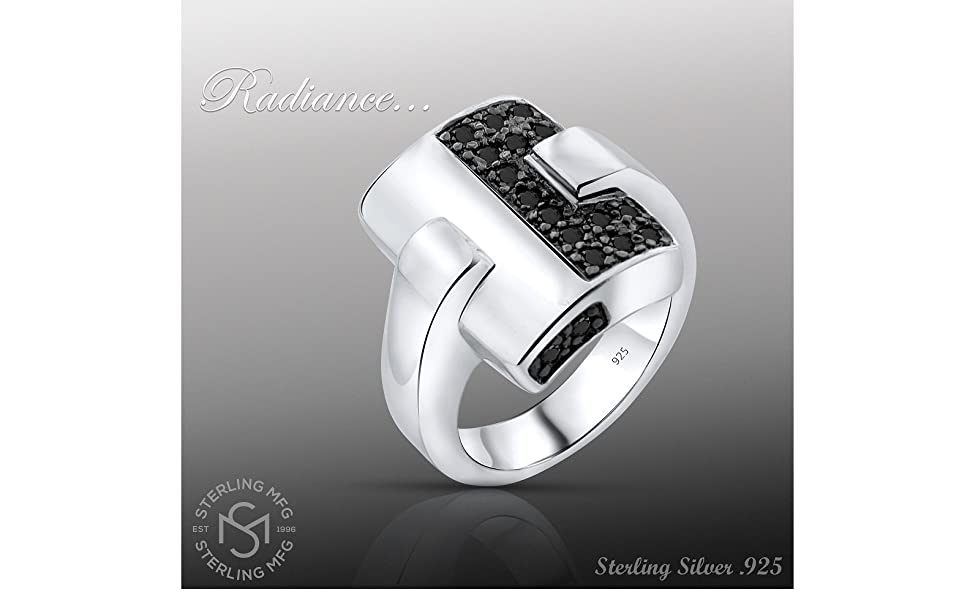 black stones rectangle sterling silver ring