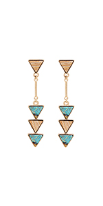 BONALUNA Bohemian Wood And Marble Effect Triangle Drop Statement Earrings