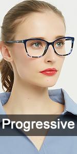 blue square Progressive Multifocus Reading Glasses Anti Blue Light Reader