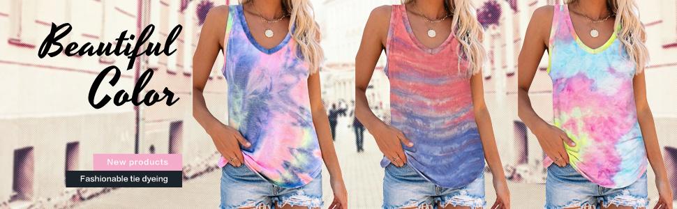 tie dye print tops for women