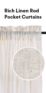 natural linen curtains rod pocket curtains for living room