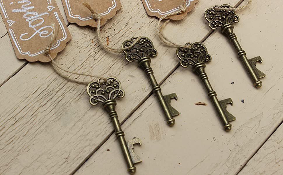 key bottle openers with tags wedding favor