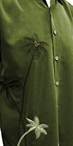 olive color palm tree embroidered shirt bamboo cay