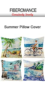 Beach bicyle coconut summer pillow cover