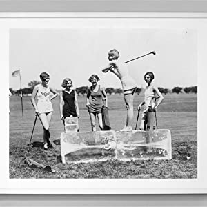 Black White Girls Golfing Canvas Wall Art