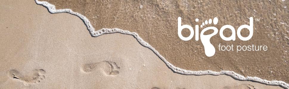 bipad foot posture logo and beach image footprints in sand