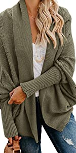 Womens Kimono Chunky Cardigans Open Front Long Sleeve Cable Knit Sweaters Hollowed Casual Coats