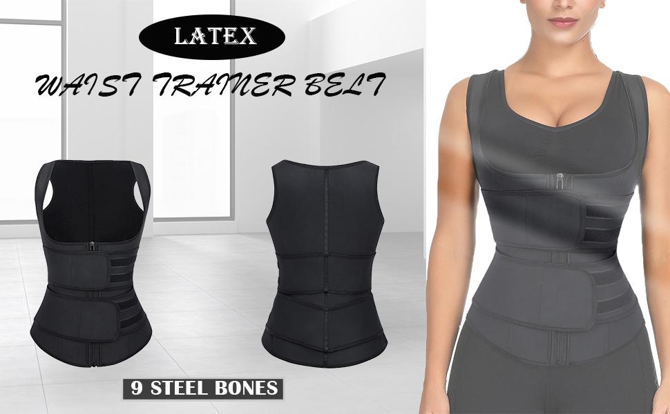 Wonder-Beauty Womens Latex Underbust Corset Waist Training Cincher Sport Girdle