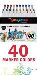 Super Markers 40 Color Double Ended Markers