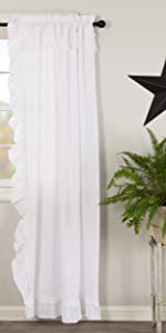 vhc brands, farmhouse, home decor, april and olive, muslin ruffled bleached white, curtains