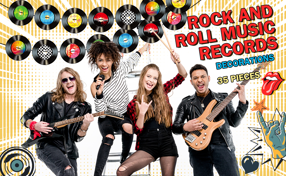Boao 35 Pieces 7 Inch 1950s Rock and Roll Music Party Decorations Records Wall Decor Signs for 50s Theme Party Supplies Music Party Favors Record Wall Decor