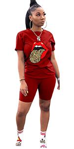 2 Piece Shorts Set Lip Print Tracksuit Outfits