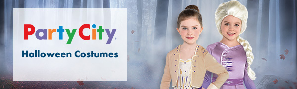 Frozen 2 costumes, party city banner, popular halloween costumes for kids, movie princesses