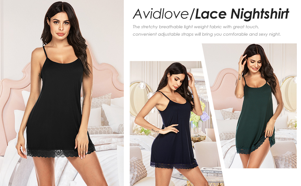 Avidlove Sleepwear Womens Nightgown Lace Chemise Soft Nightshirt Camisole Slip Dress