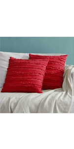 Cotton Red Sofa 18x18 Pillow Covers