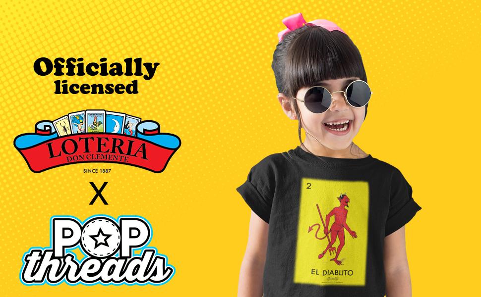 Pop Threads Loteria Cards Mexican Lottery Bingo Toddler Kids Girl Boy T-Shirt