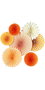 Tissue Paper Fans Collection Orange Paper Fans