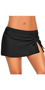 Women's Elastic Mid Waist Side Slit Pull Tie Build-in Brief Swim Skirt