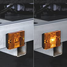 "Amber 3""x2"" Stud-Mount Reflector Clearance Marker Light on trailer with light on and off."