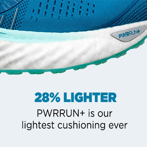 saucony pwrrun+ their lightest cushioning yet that is 28% lighter