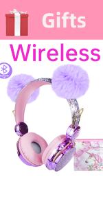 Kids Headphones wired birthday Gifts Girls Microphone Headset Online Study Pink POM POM