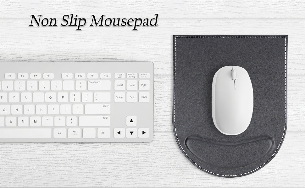 KINGFOM Leather Gaming Mouse Pad/Mat with Wrist Rest Support, Non Slip Mousepad