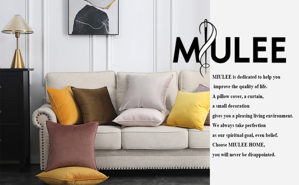 MIULEE velvet cushion cover soft comfortable 12x20 18x18 20x20 24x24 two 2 pcs pillow covers