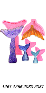 Mermaid Tail & Fin molds 4-count