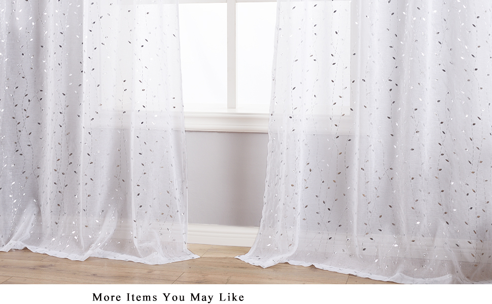 white sheer curtains with silver leaf pattern for bedroom living room