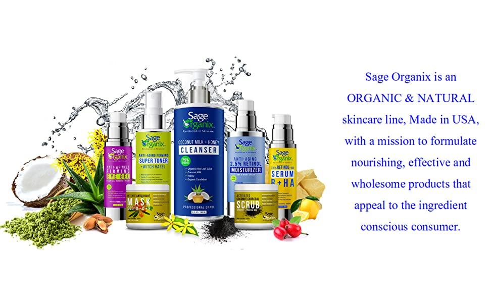 Sage Organix Organic Natural Skincare Cleanser Wash Moisturizer Serum Toner Eye Gel Cream Scrub Mask