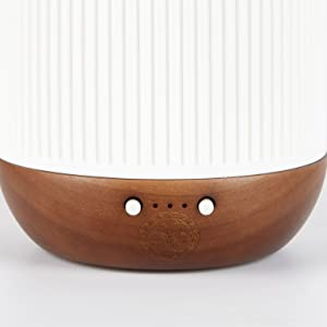 White Ceramic Glass Essential Oil Diffuser lamp with natural wood and sacred geometry detail