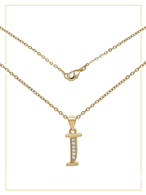 initial letter pendant on rolo chain necklace set