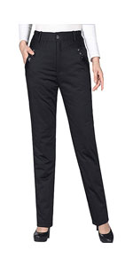 Womens High Waisted Winter Warm Down Pants Trousers