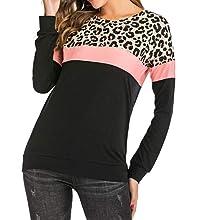 BALCK Long Sleeve Leopard Print Tops