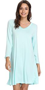 WiWi Long Sleeve Nightgowns for Women Sleep Shirt