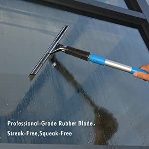 ITTAHO Window Cleaning Tool Kit-Window Squeegee 14,Microfiber Window Washer 14,Extension Pole 4.8 Feet,Squeegee Rubber Replacement and Pole Attachment for Home,Commercial Glass,High Window Cleaning