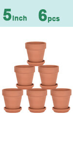 6pcs 5 inch clay pots